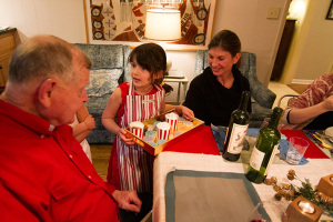 "Kelly Porter's daughters served dessert at Thursday's seating of ""The Christmas Restaurant."""