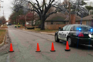 Police blocked off the intersection of 79th Street and Roe Avenue Monday to take measurements at the scene of Saturday's accident. Reader submitted photo.