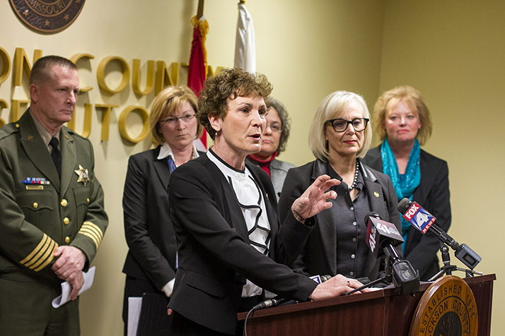 Kansas Rep. Barbara Bollier, seen here at a press conference announcing a gun safety bill, is one of 24 women honored by the Governing Institute for public service.