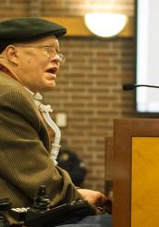 Finn Bullers addressing the Prairie Village City Council.