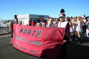 The SM North Marching Indians prepare to line up for the parade.