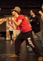 SM North students rehearse for the musical Oliver! which opens Thursday.
