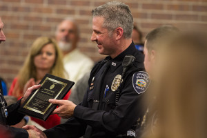 Officer Brian Wolf received the Award of Valor —the highest given by the Prairie Village Police —for his part in apprehending the Bank of America robbers.