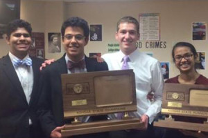 SM East's state champion and runner up debaters: (from left) Bhavish Dinakar, Ali Dastjerdi, Henry Walter, and Shrushti Mehta.