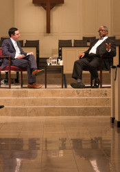 Brian Ellison, left, and Sly James participated in the first Village Talk event at Village Presbyterian Wednesday.