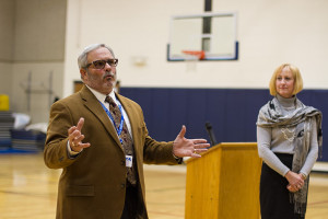Dr. Kenny Southwick and Deb Zila spoke to parents at Briarwood Monday night.