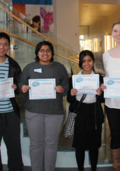 Winners of the this year's Brain Bee posed with the co-presidents of the  Kansas City Chapter of the Society for Neuroscience. Pictured are (from left) Angela Pierce (Co-President); Allen Chen, Blue Valley CAPS (4th place); Sarmila Venkoba Sah, Blue Valley North (2nd place); Debolina Kanjilal, Blue Valley West (winner); Bethany Snyder, Shawnee Mission East (3rd place); and John Stanford (Co-President).