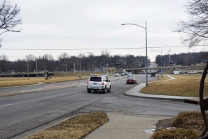 The properties on both sides of Roe Avenue north of Johnson Drive would benefit from a new intersection for future development. (Looking south from 57th Street)