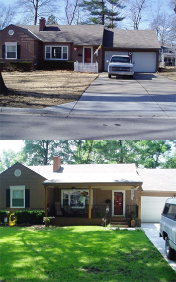 Before (top) and after photos of a home improvement project that received a grant from Prairie Village in 2014.
