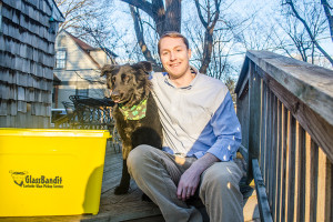 Westwood resident Jamie Arnold, the owner of Glass Bandit recycling service, and Nancy, the Glass Bandit mascot.
