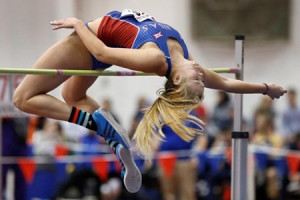 Grace Pickell has shown signs of reaching the personal record she set in high school during this indoor season at KU. Photo  by Jeff Jacobsen, Kansas Athletics.