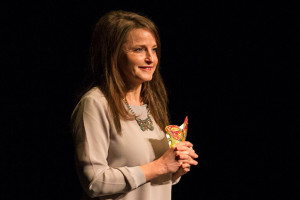 Marti Hill wore a butterfly necklace and spoke from notes written on a butterfly shaped notecard during her presentation at JCCC Wednesday.