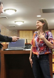 """Marti Hill received the """"Spirit of Fortitude"""" award from the Prairie Village Police Department in 2012."""