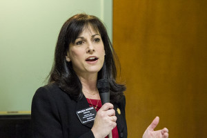 "State Rep. Melissa Rooker told the MainStream forum crowd that conservatives in the state legislature wanted to drastically curtail spending on schools. ""They truly do not believe that government belongs in the realm of education,"" she said."