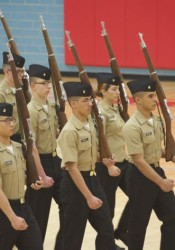 The SM North NJROTC Armed Regulation drill team competing in Oklahoma City qualifier.