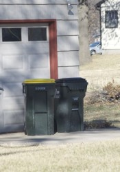 Trash and recycling containers can be left out for only 18 hours after the collection time and then must be stored where they are not visible from the street.
