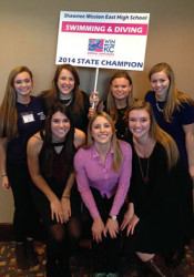 SM East seniors from last year's swim and dive state title team posed at the