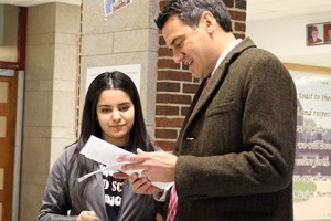 Kevin Yoder was a judge at an SM North debate tourney Friday. Photo via SMSD.org.