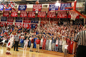 Bishop Miege's girls basketball team finished the regular season a perfect 20-0. Photo via Bishop Miege Facebook.