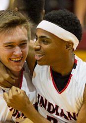 Cole Gibson (left) and Michael Weathers celebrated after the Indians secured their first trip to state since 2002.