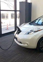 Each of KCP&L's electric vehicle charging stations has ports for two vehicles. Photo via KCP&L.