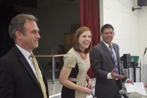 Blake Morgan Jr., Erin Thompson and Michael Poppa greeted residents after their candidate forum Wednesday night at the Roeland Park Community Center.
