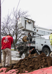 Crews have been busy replacing utility poles in Prairie Village.