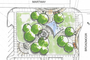 The preliminary design for the park at Broadmoor and Martway in Mission.