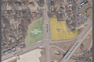 The highlighted ground is the development parcel in question. The green area to the left of Roe is being developed by Commerce Bank.
