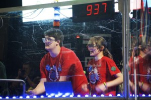 Brennan Collahan and Chelle Ferm of SM North ran the controls as their robot competed in its final round Saturday morning.