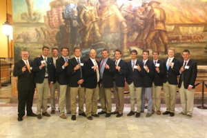 SM East's football team was in Topeka Monday to be honored by the legislature. Photo via Lancer Football Twitter account.