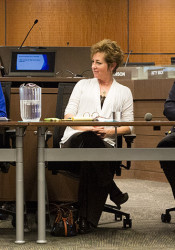 SM North area board incumbent Sara Goodburn (from left) and at-large seat candidates Elizabeth Rulo and Brad Stratton at Tuesday's forum, held at the McEachen Administrative Center.