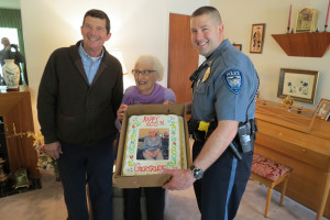 Mission Mayor Steve Schowengerdt and Police Chief Ben Hadley presented Gertrude Stern with a birthday cake.