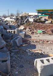 The Roeland Park building that sat across the street from Taco Republic is now a pile of rubble.