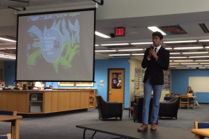 Senior Akshay Dinakar hosted the seventh annual Poetry Slam in the SM East  library Friday.