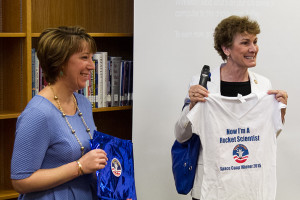 Rep. Barbara Bollier (right) presented Vanessa Hannan with a tee shirt at the ceremony Monday at Indian Woods.