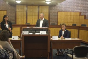 Reps. Melissa Rooker and Barbara Bollier spoke at a Chamber forum Wednesday night at Prairie Village City Hall. Jim Donovan was the moderator.