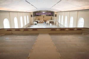 The Village Presbyterian sanctuary is clear of pews in preparation for renovation work. Photos via Facebook by Lori Locke and Kathy Lueckert.