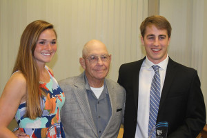 Emma Braasch (left) and Sam Huffman (right) with Dr. Art Newcomer at the Newcomer Scholarship ceremony Tuesday. Photo courtesy Andy Hendricks.
