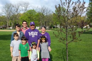 Jack Lewis and family at the 2015 Prairie Village Arbor Day event.