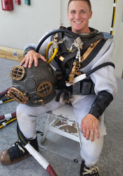 Johnston Davis got to try out some antique diving gear as part of his Navy training. Photo courtesy Johnston Davis.