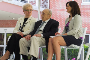 Roe Taliaferro, flanked by former Kansas City, Mo., mayor Kay Barnes (left) and Prairie Village Mayor Laura Wassmer at a presentation earlier this year, is encouraging PV residents to contact their representatives on the Shawnee Mission School Board.
