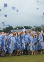 The new SM East graduates throw their caps into the air after making the transition.