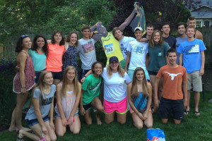 SM East's state bound  track athletes at a team dinner this week. Photo via coach Emily Nackley.