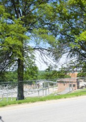 A view of the wastewater treatment plant from Nall Park. Visual screening has been requested to improve the view from the park.