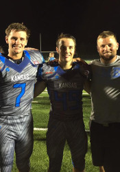 Kyle Ball (from left), Gunnar Englund, Sam Pottenger, coach Dustin Delaney and Sam Huffman at the All Star Game.