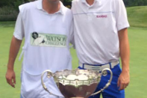 Chase Hanna and caddie Danny Summers, a Mission Hills native and Rockhurst High School student, after Hanna's Watson Challenge win. Photo courtesy William Hanna.