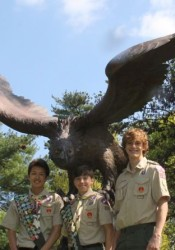From left, new Eagle Scouts Andrew Clark, Jack Lischer and Charlie Tietgen.