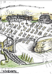 A drawing of a possible development of an entertainment site using the old pool ground and the limestone caves. The drawing was done by Roeland Park Mayor Joel Marquardt.
