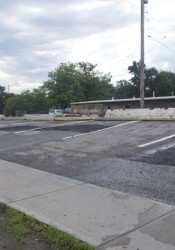 The empty lot at 47th and Mission Road is now used for overflow Taco Republic parking.